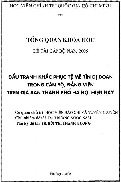 Đấu tranh khắc phục tệ mê tín dị đoan trong cán bộ, Đảng viên trên địa bàn thành phố Hà Nội hiện nay