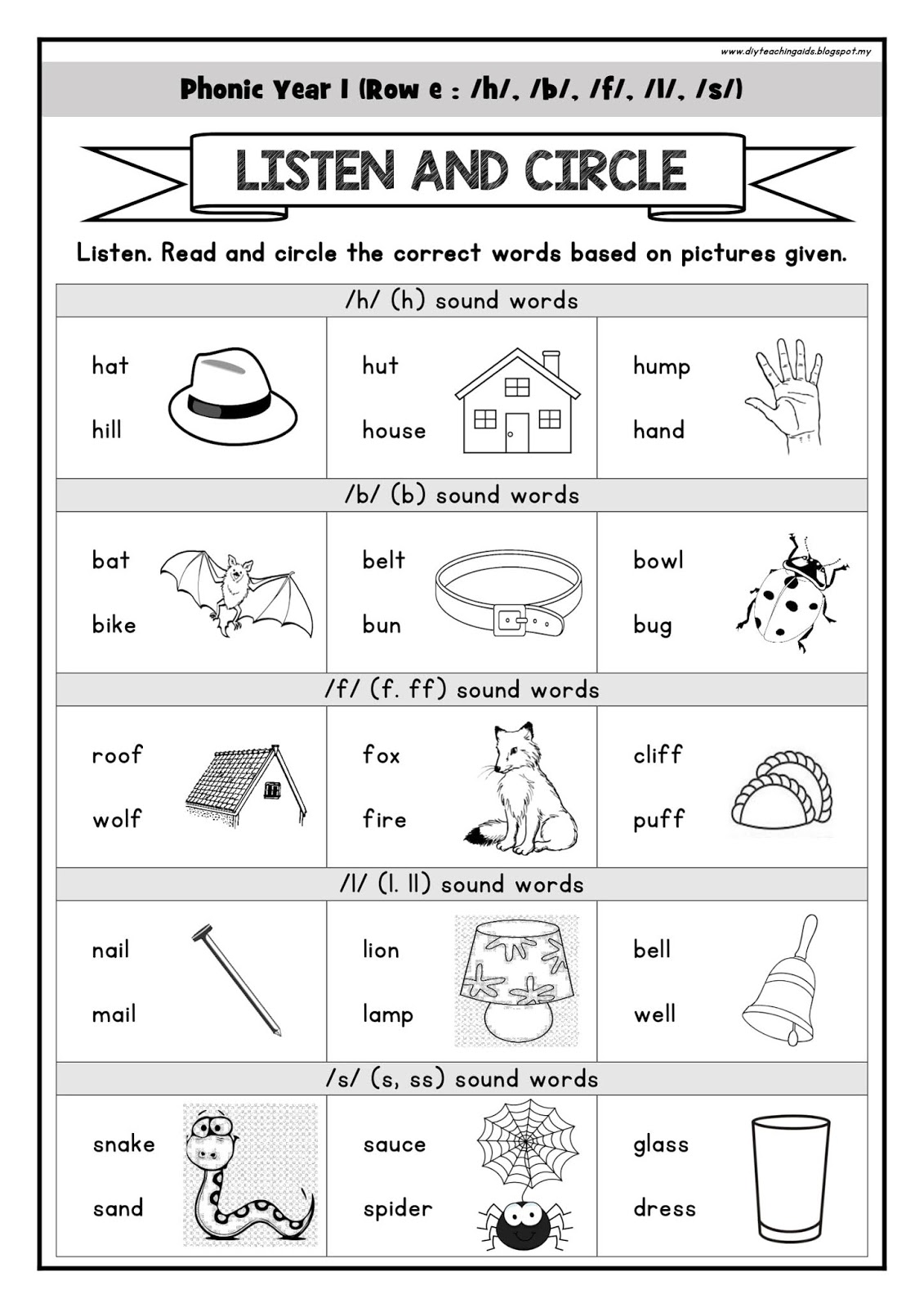 Phonic 16 Phonemes H B L F S Worksheet