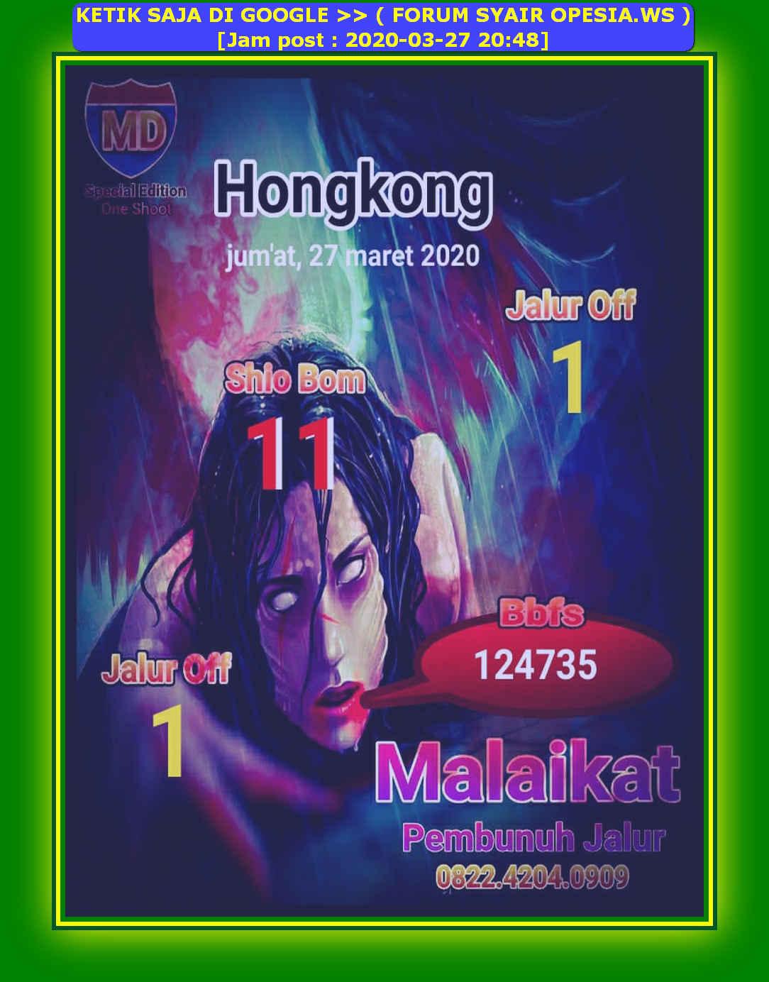 Kode syair Hongkong Jumat 27 Maret 2020 20