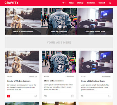 Gravity Red Blogger Template