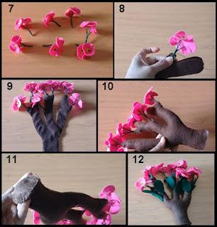 Tutorial Cara Membuat Bunga Euphorbia dari Kain Flanel 2