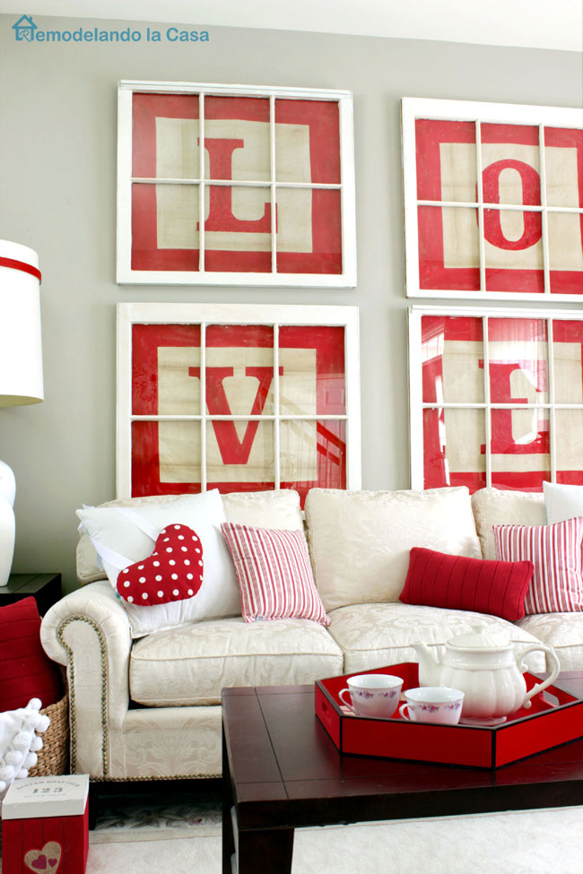 repurpose old windows as gallery wall for Valentine's day red and white decor