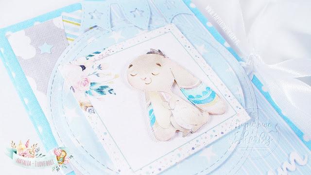 album handmade rękodzieło album harmonijka harmonijkowy zajączek dla chłopczyka leporello pastelowy rabbit króliczek na roczek na zdjęcia