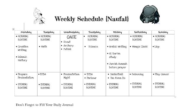 contoh jadwal dan kurikulum homeschooling