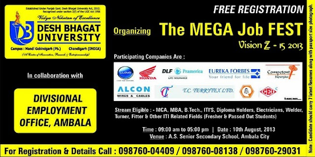 Job Fest in Punjab For MCA/ MBA/BE/ BTech/ ITI'S Diploma Holders :Event Date 10 Aug 2013