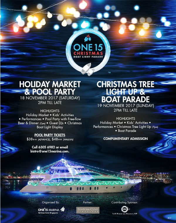 sentosa one15 christmas boat light parade