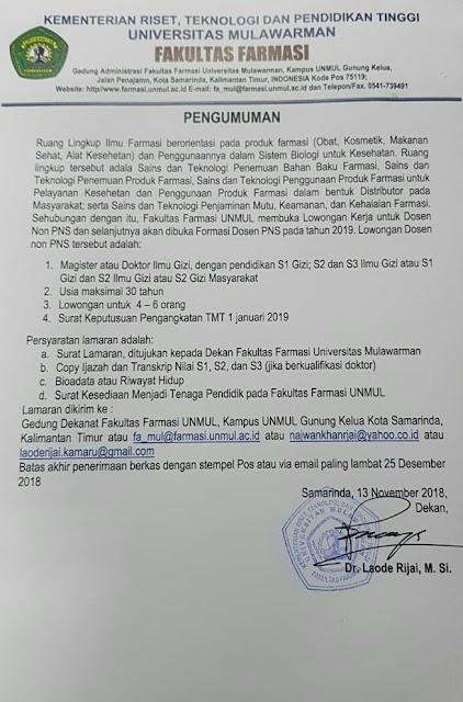 Lowongan Dosen Bulan November 2018