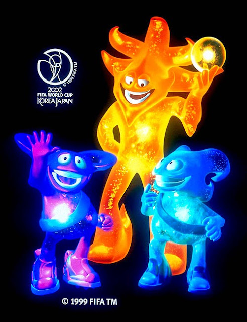Nik, Ato y Kas Mascota del Mundial de Futbol año 2002 Corea del Sur y Japón