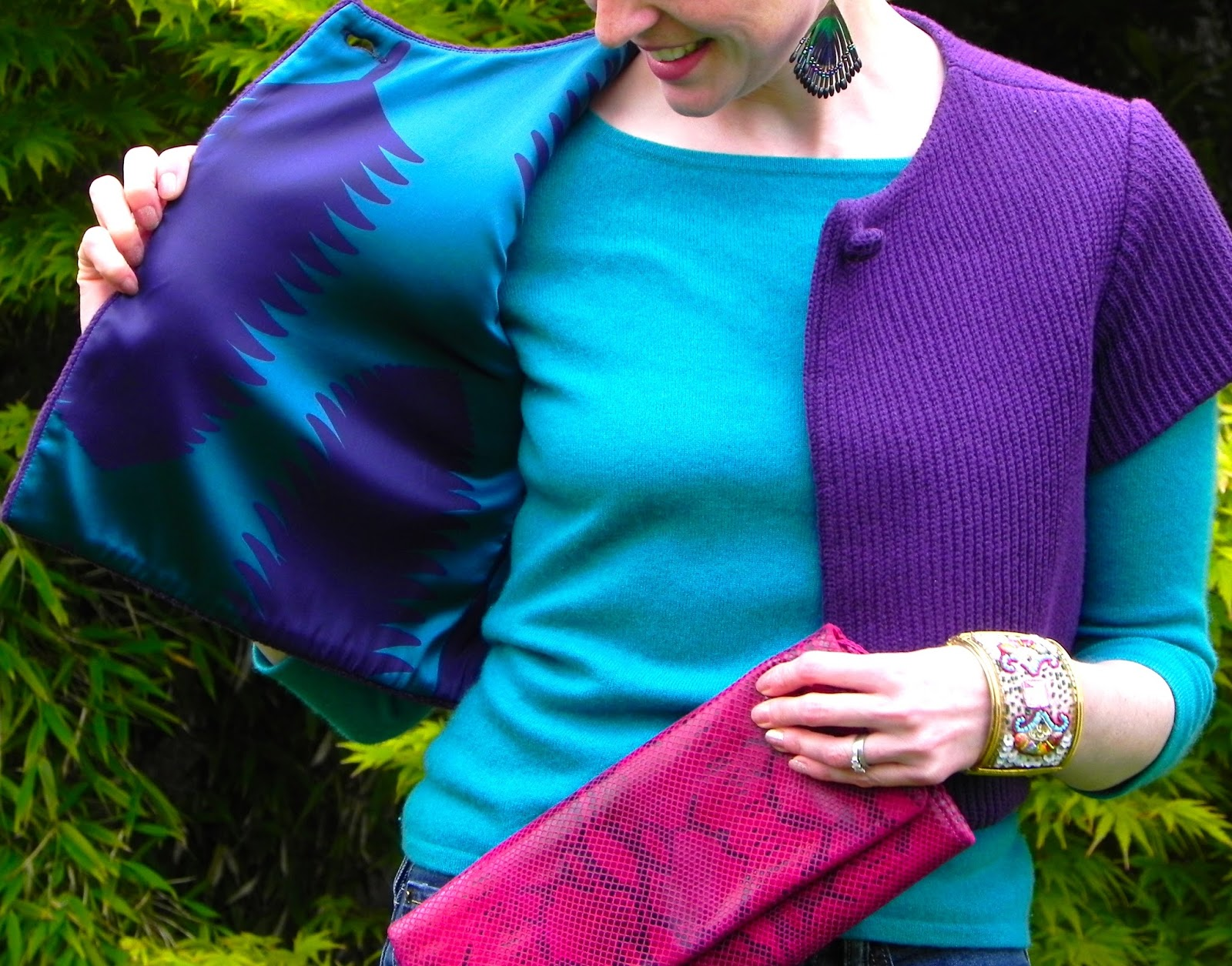 Purple and teal Silk and cashmere