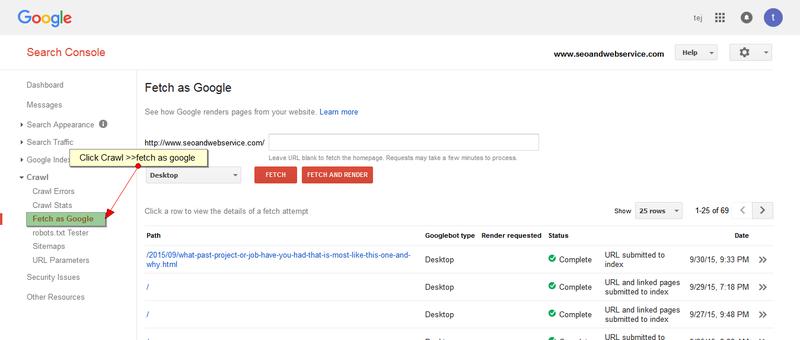 Fetch as Google menu link