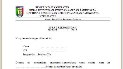 Contoh Surat Rekomendasi Pindah Tugas Pns Resmi Terbaru