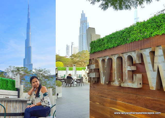 Outdoor terrace lounge with a stunning view of Burj Khalifa
