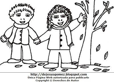 Dibujo de la estación de otoño para colorear, pintar o imprimir  (Niños junto a hojas secas en otoño). Dibujo de otoño hecho por Jesus Gómez