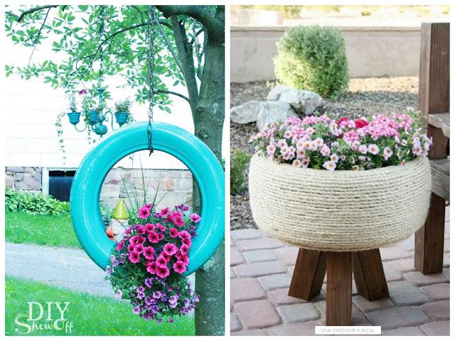 decoração com pneu reciclado