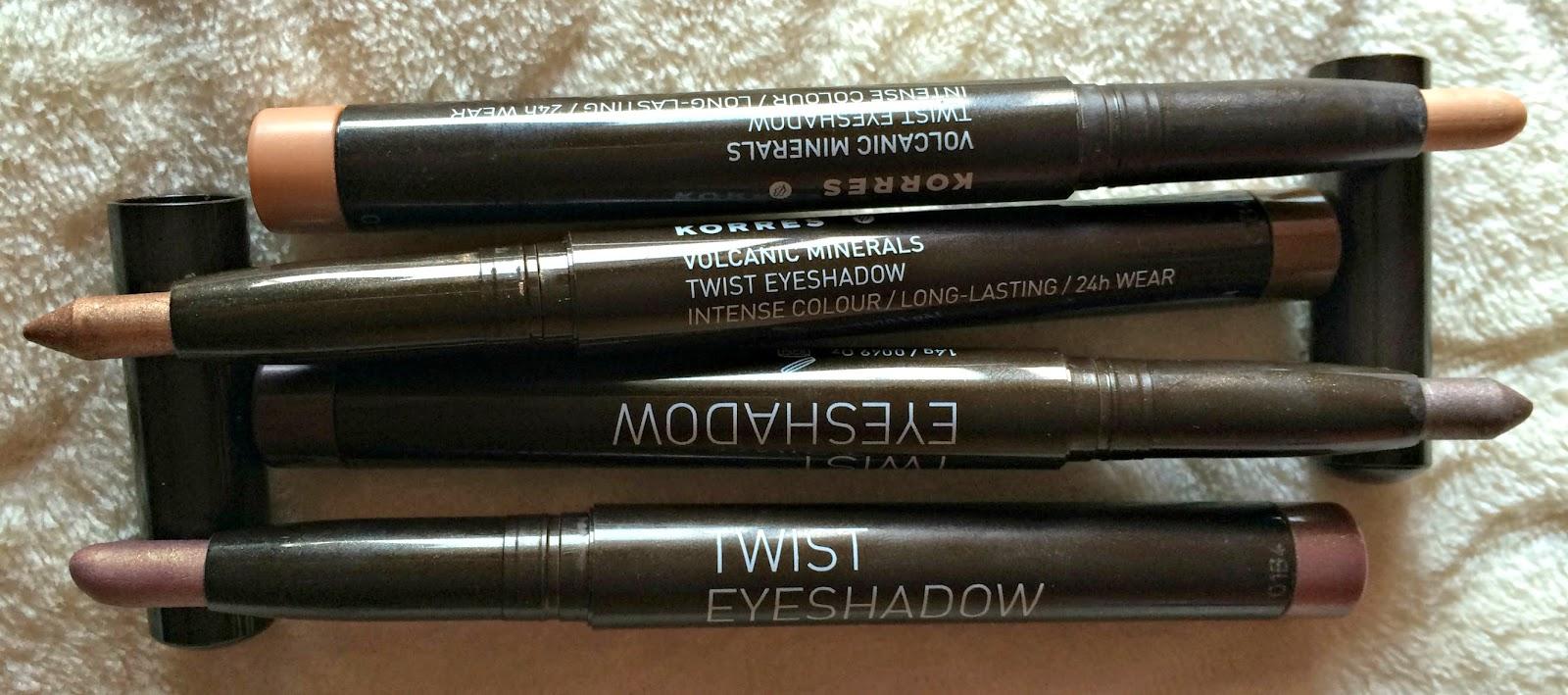 review & swatches Korres volcanic minerals twist eyeshadow