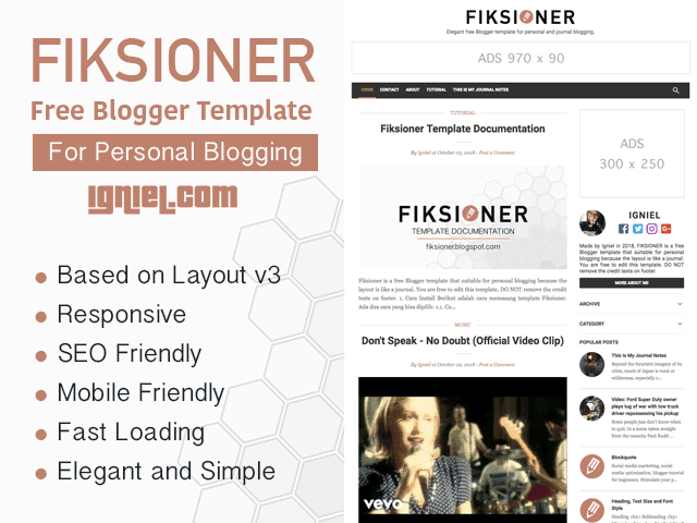 Fiksioner - Free Blogger Template for Personal Blogging