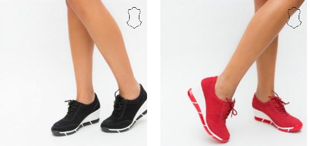 Pantofi casual dama cu platforma negri, rosii din piele naturala intoarsa