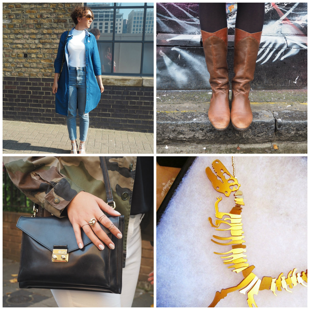 fashion blogger denim coat mulberry bag brown boots tatty devine necklace