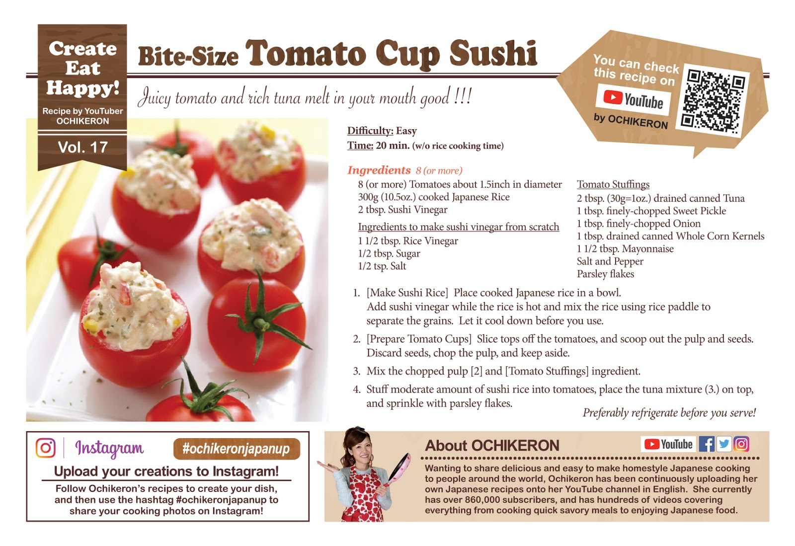 Bite-Size Tomato Cup Sushi - Video Recipe | Create Eat Happy