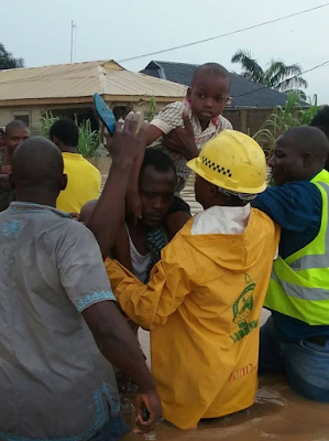 Photos: LASEMA rescue victims, including children trapped by flood in Lagos