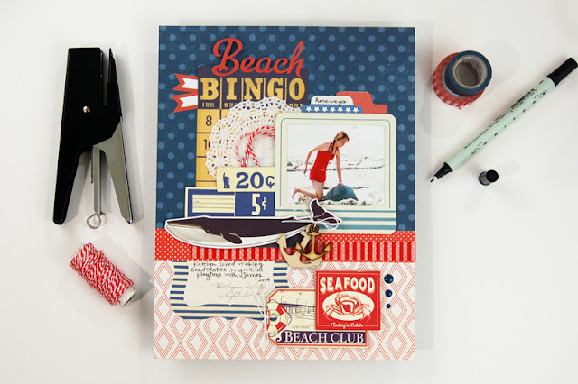 """Beach Bingo"" nautical themed scrapbooking layout by Jen Gallacher. Includes instructional video. #scrapbooking #nauticalscrapbook"