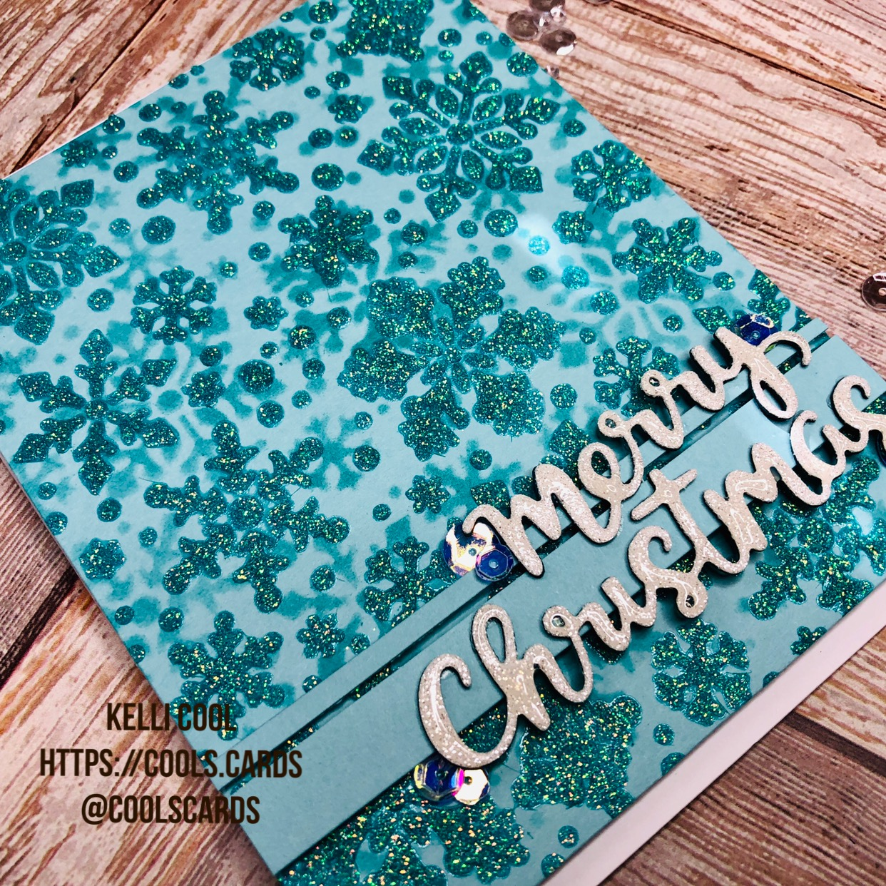 Snowfall Stencil Cards by November Guest Designer Kelli Cool | Snowfall Stencil and Holiday Greeting Die Set by Newton's Nook Designs #newtonsnook #handmade