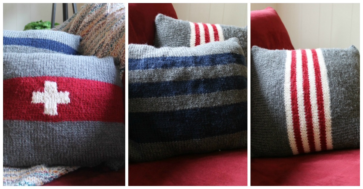 Vintage Camp Blanket Inspired Pillows ~ 3 Simple Knitting Patterns ...