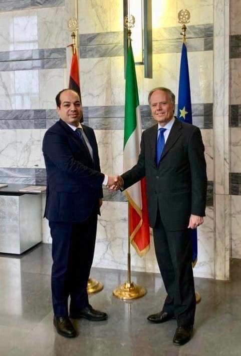 Image result for معيتيق مع وزير الخارجية الايطالي