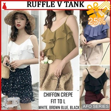AFO291 Model Fashion Ruffle V Tank Modis Murah BMGShop