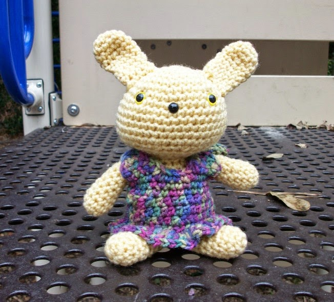 Golden Bunny Girl in Crochet