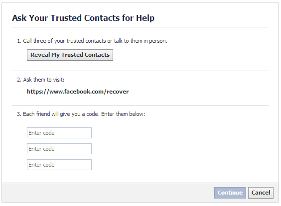 trusted contacts password recovery Facebook