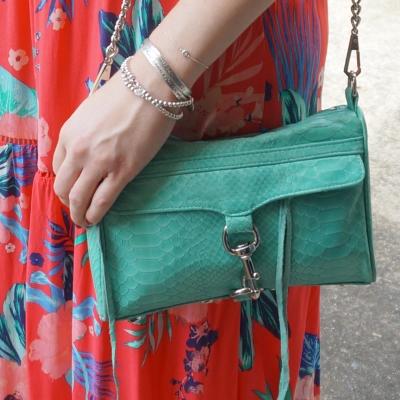 coral dress, Rebecca Minkoff mini MAC in aquamarine with python embossed leather | AwayFromTheBlue Blog