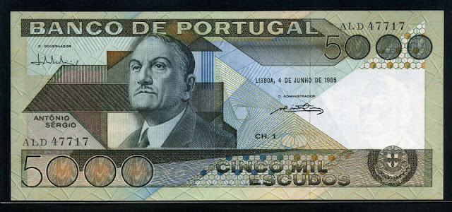 Portugal currency 5000 Escudos banknote António Sérgio