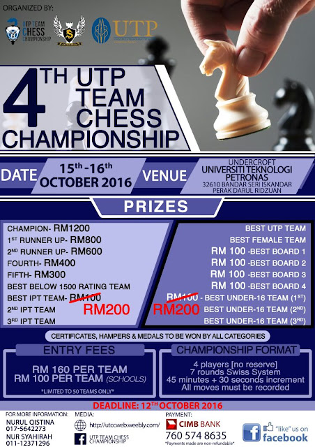 4th UTP Team Chess Championship 2016