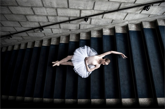 Ballerina in tutu on stairs in Erika Cavallini for Vogue Italy seen on Hello Lovely