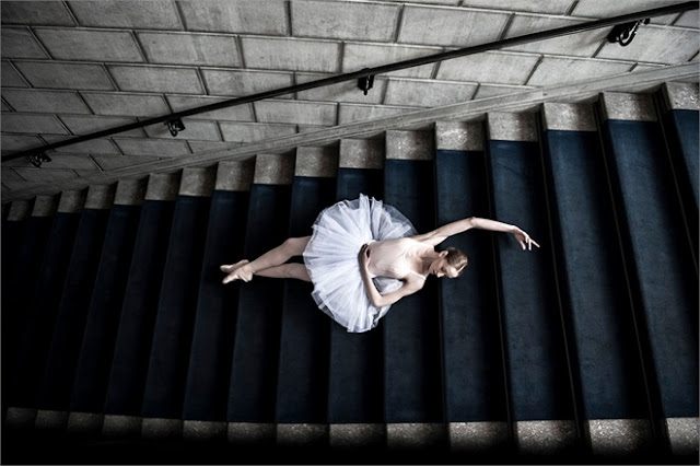 Ballerina in tutu on stairs in Erika Cavallini for Vogue Italy seen on Hello Lovely
