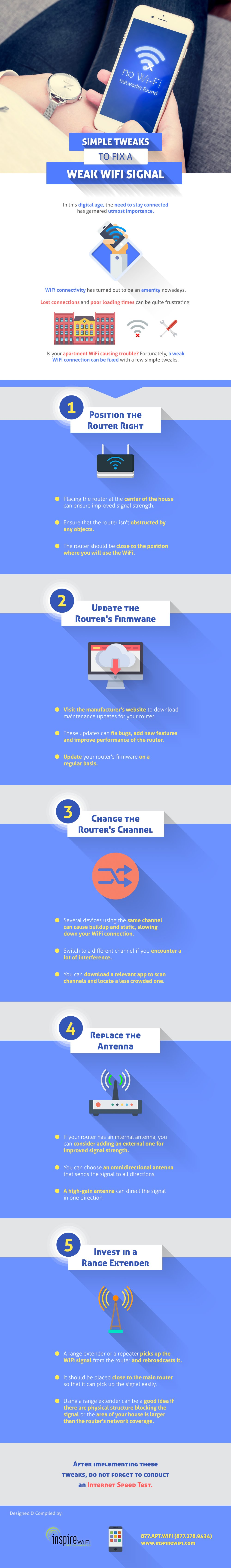 Simple Tweaks To Fix A Weak WiFi Signal - #infographic