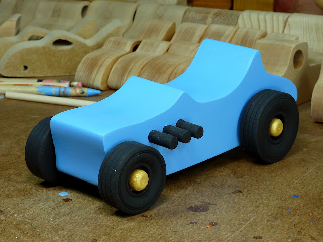 Left Front - Wooden Toy Car - Hot Rod Freaky Ford - 27 T Bucket - MDF - Blue - Black - Gold