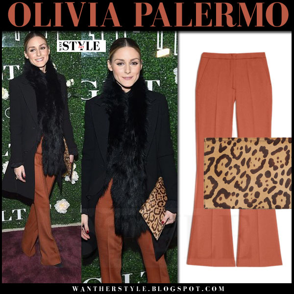 Olivia Palermo in burnt orange pants max&co , black coat and leopard clutch aerin what she wore february 2017