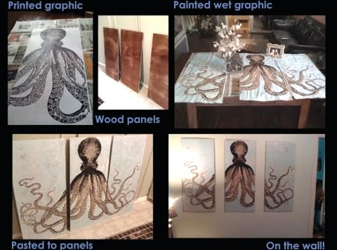 DIY octopus triptych on wood panels