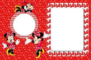 Kit Completo Minnie Vermelha Com Molduras Para Convites Rótulos