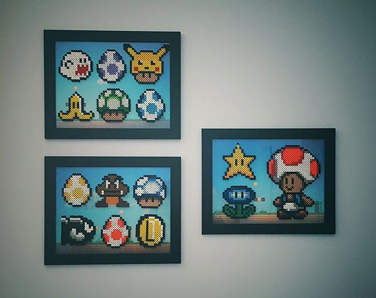 Perler beads, super Mario Bros, patterns, frame, boy's room
