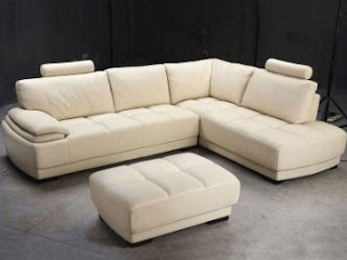Tosh Furniture Asti Beige Leather Sectional Sofa and Ottoman Set
