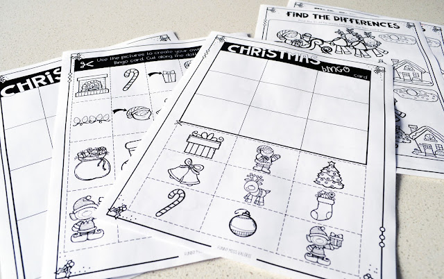 https://www.teacherspayteachers.com/Product/Christmas-Activity-Pack-3533288