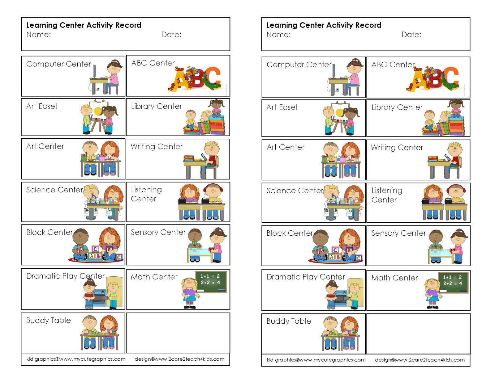 2care2teach4kids Learning Center Activity Record Free Printable