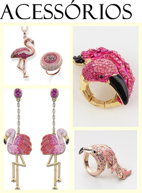 Brincos,colares pulseiras e anéis flamingos