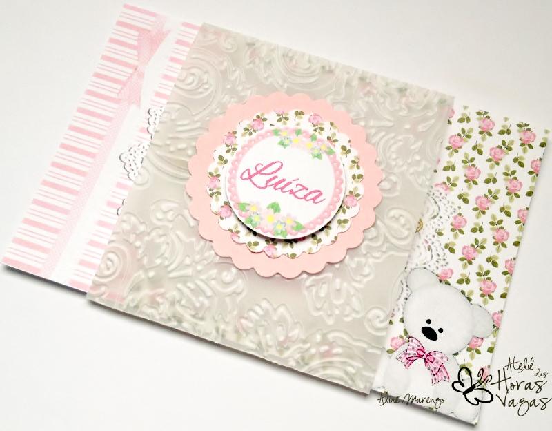 convite artesanal aniversário infantil ursinho urso listra floral rosa delicado menina provençal 1 aninho bebê