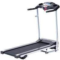 "Merax JK1603E Folding Electric Treadmill, compact size, for light to moderate use, speeds from 1 to 10 km/h, 3 manual inclines, 14"" x 44"" running belt"