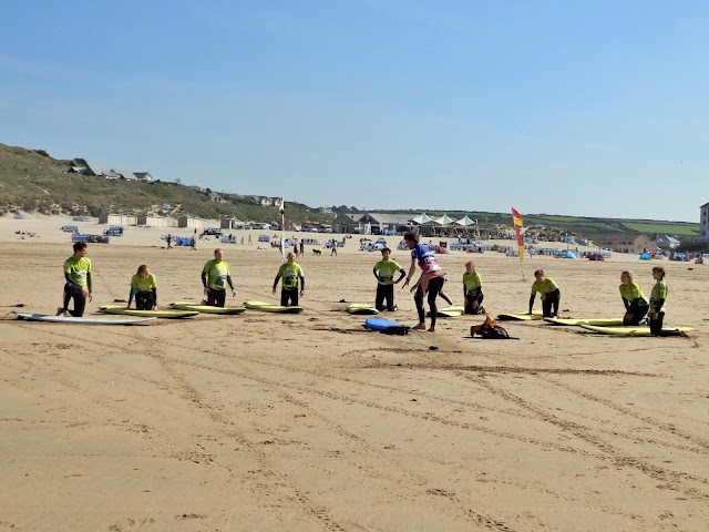 Surf school at Perranporth Beach, Cornwall