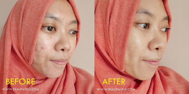 before after pakai Pixy Make it Glow Dewy Cushion